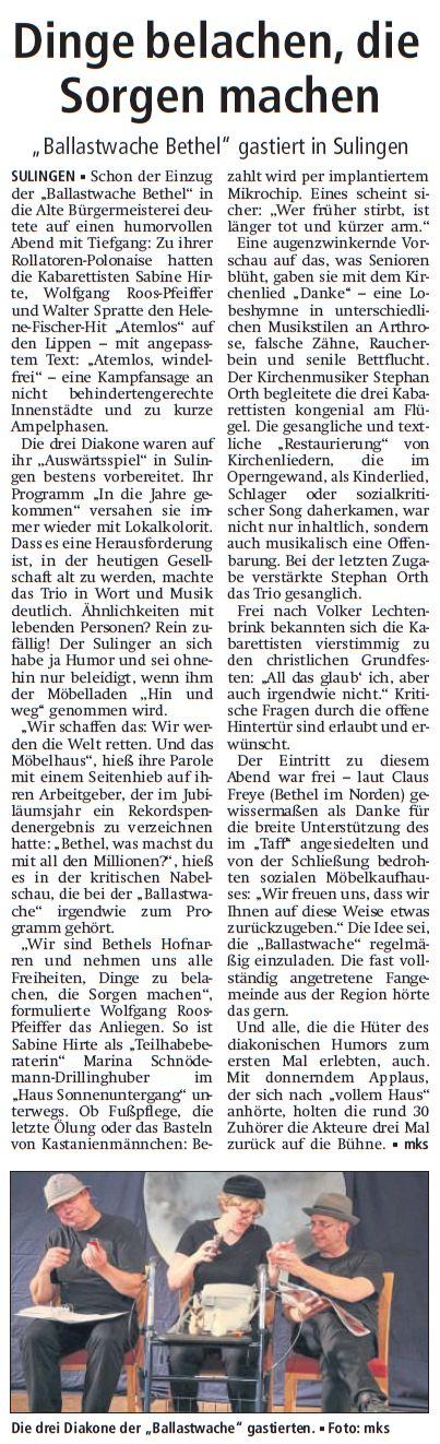 Artikel in der Kreiszeitung Sulingen